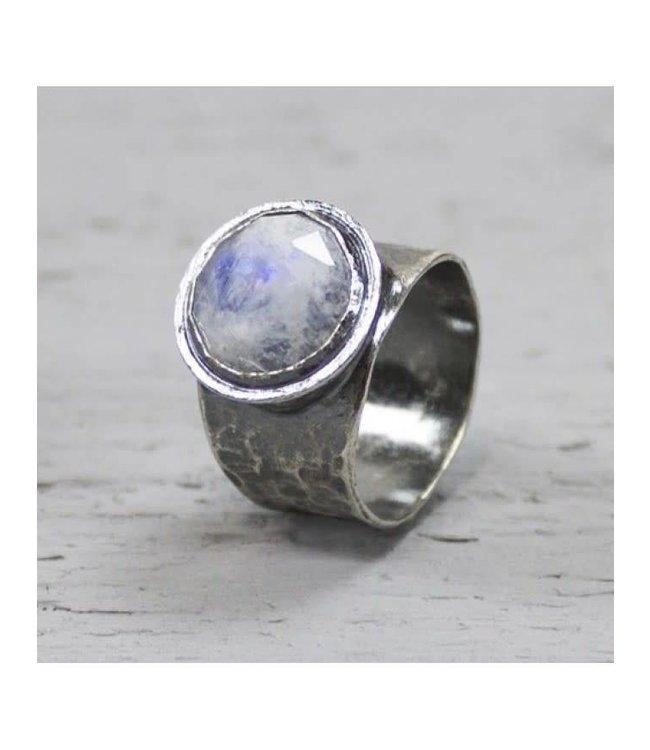 Ring zilver + Maansteen 19495