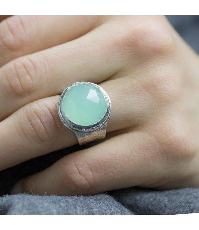 Ring zilver + Groene Kwarts 16149