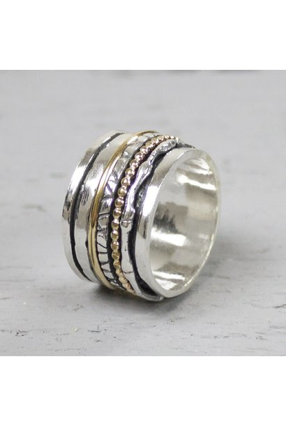 Ring zilver oxy + wit 18484