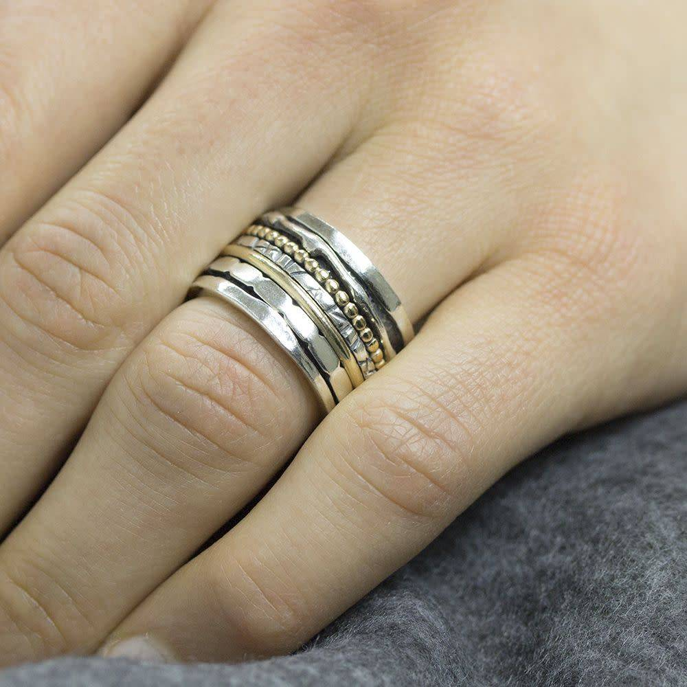 Ring silver oxy + White 18484-4