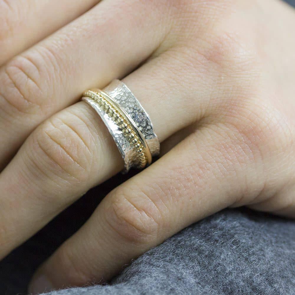 Ring zilver + Goldfilled 18728-8