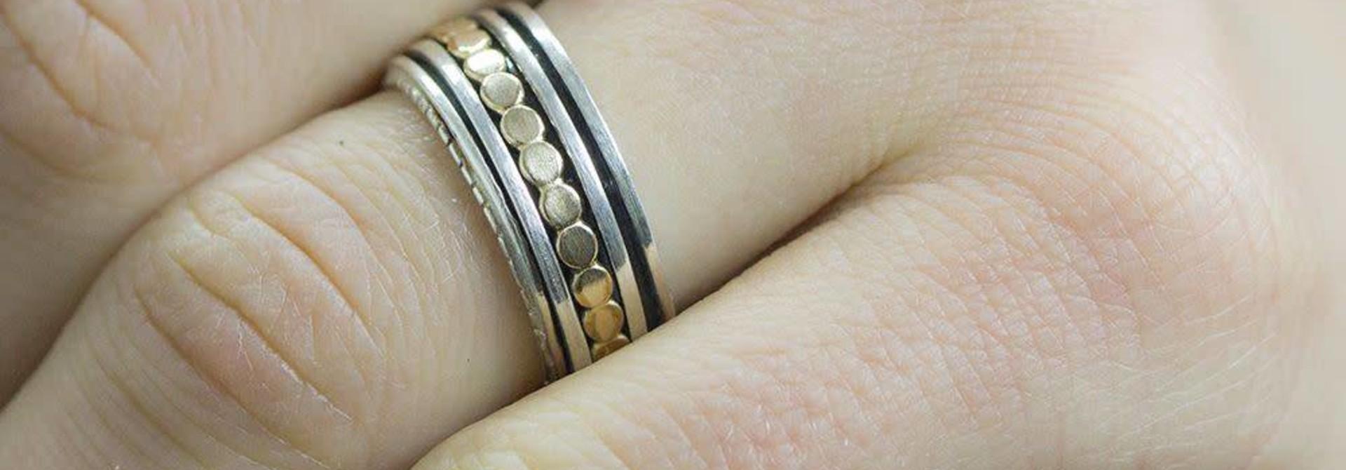 Ring zilver + Goldfilled 19222