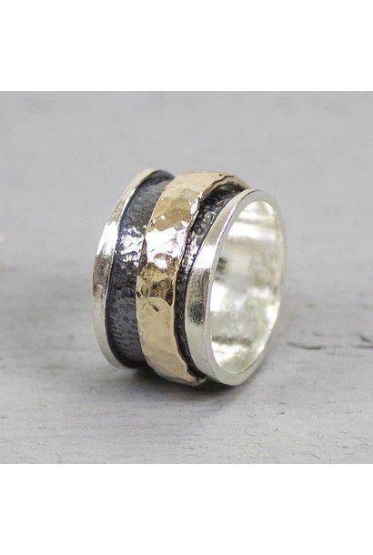 Ring zilver + Goldfilled 19223