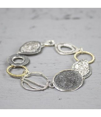 Jeh Jewels Armband zilver oxy + wit