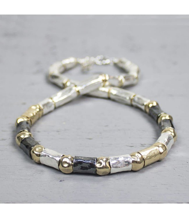Collier zilver oxy + wit