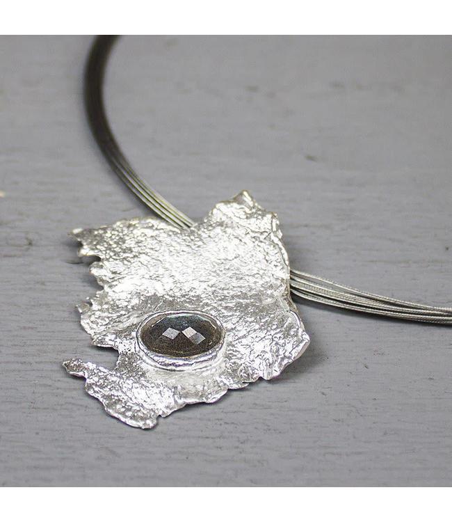 Jeh Jewels Hanger zilver wit + Labradoriet