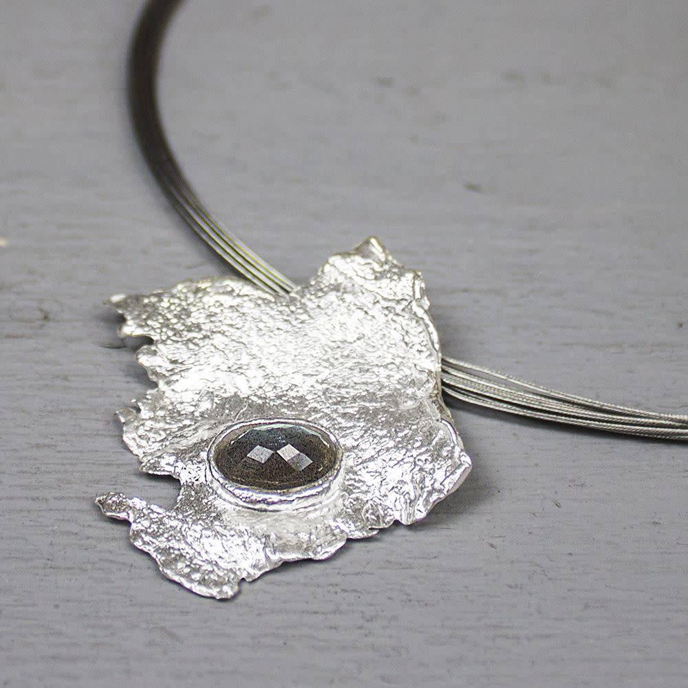 Hanger zilver wit + Labradoriet-1