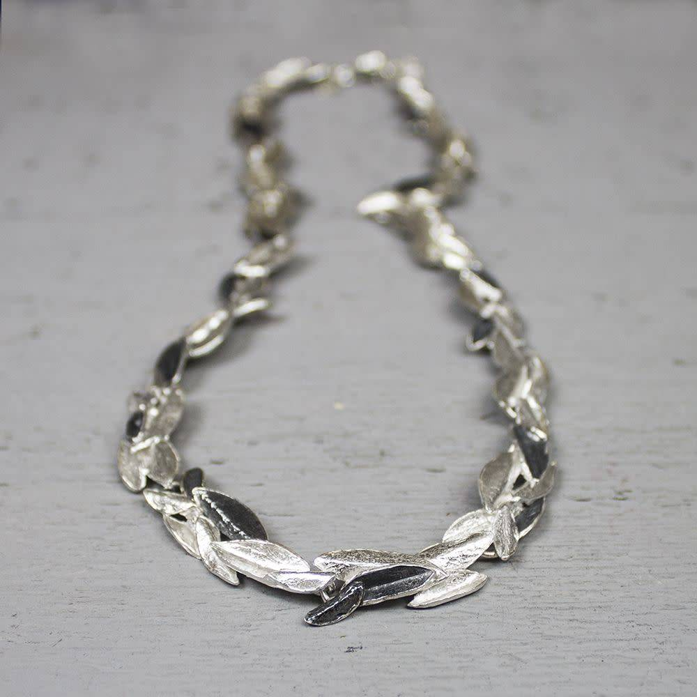 Collier zilver oxy / wit-1