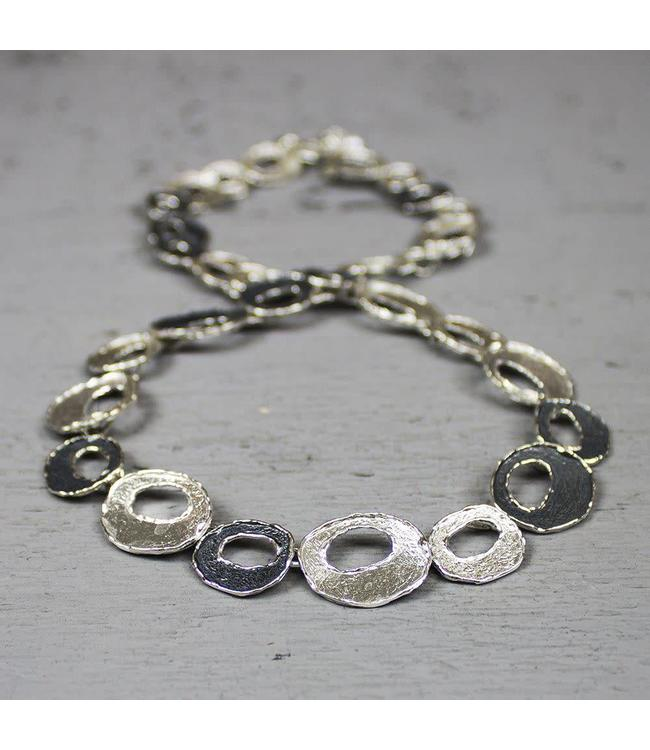 Collier zilver oyx / wit