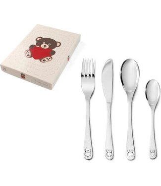 Zilverstad Zilverstad Children's cutlery - Bear with Heart - Stainless Steel - 4-piece