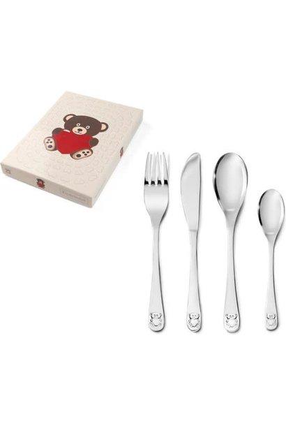 Zilverstad Children's cutlery - Bear with Heart - Stainless Steel - 4-piece