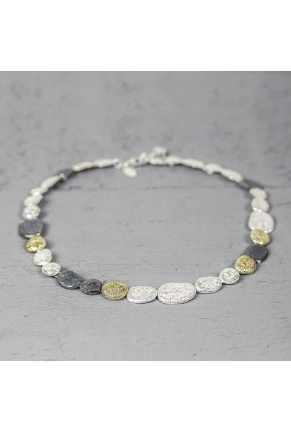 Jéh Collection Collier zilver oxy / wit + zilver verguld G14K