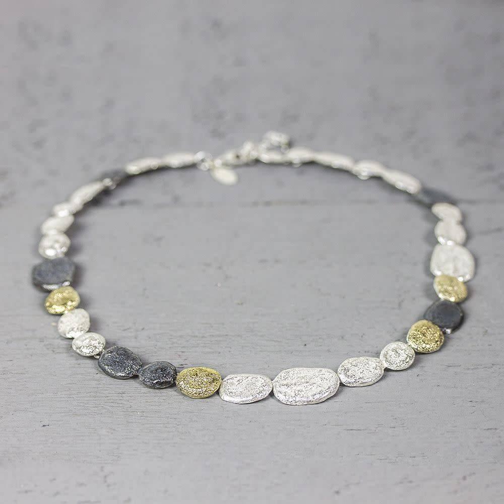 Jéh Collection Collier zilver oxy / wit + zilver verguld G14K-1