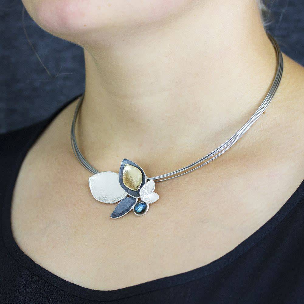 Jéh Pendant Collection oxy silver and plated with Labradorite-2