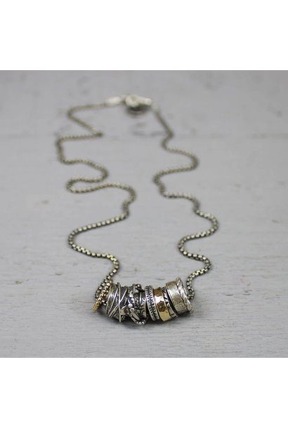 Jéh Collection Collier oxy silver and gold filled with loose rings