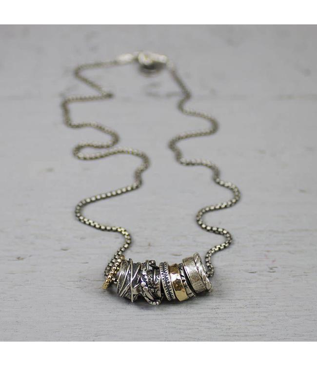 Jéh Collection Collier zilver oxy en goldfilled met losse ringetjes