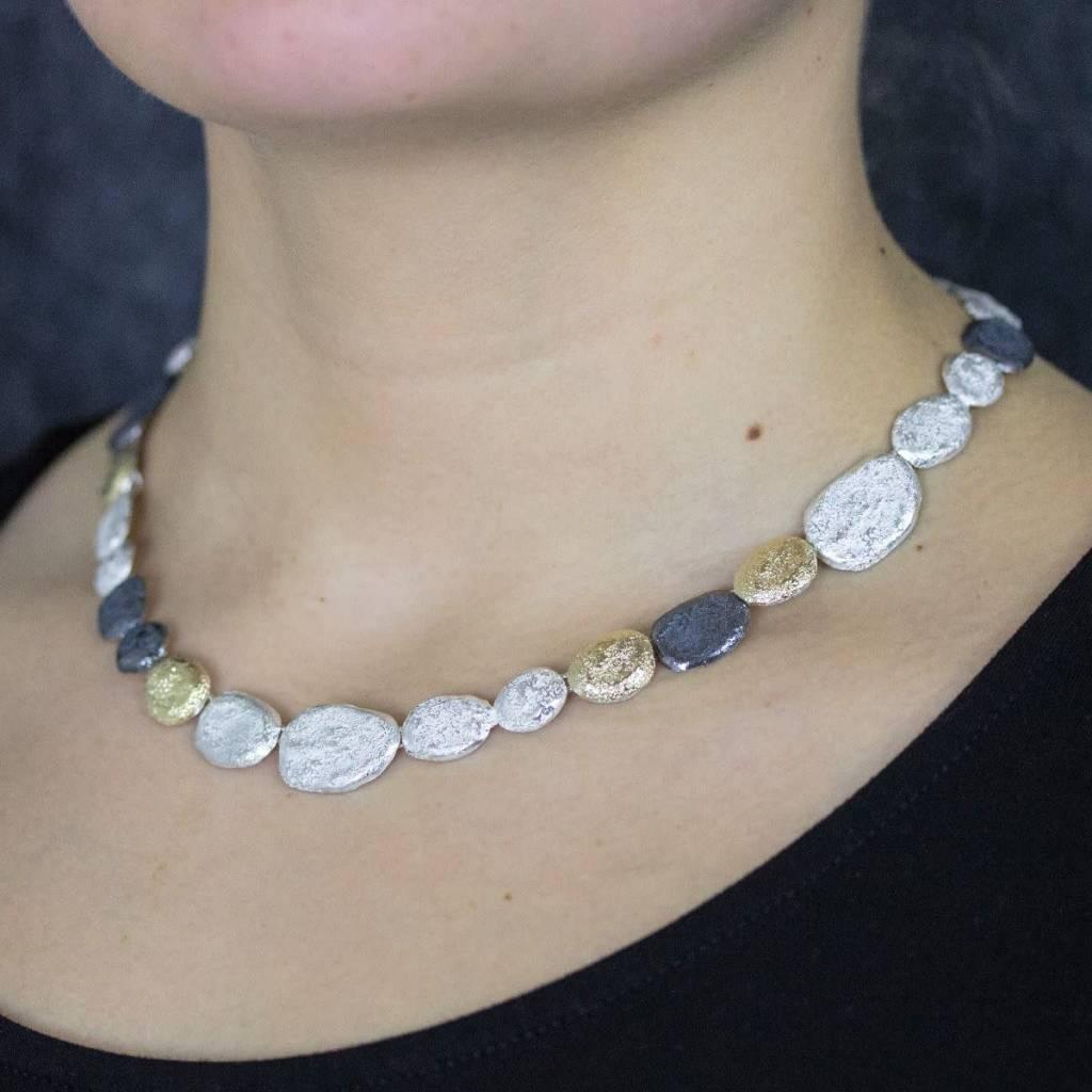 Jéh Collection Collier zilver oxy / wit + zilver verguld G14K-3