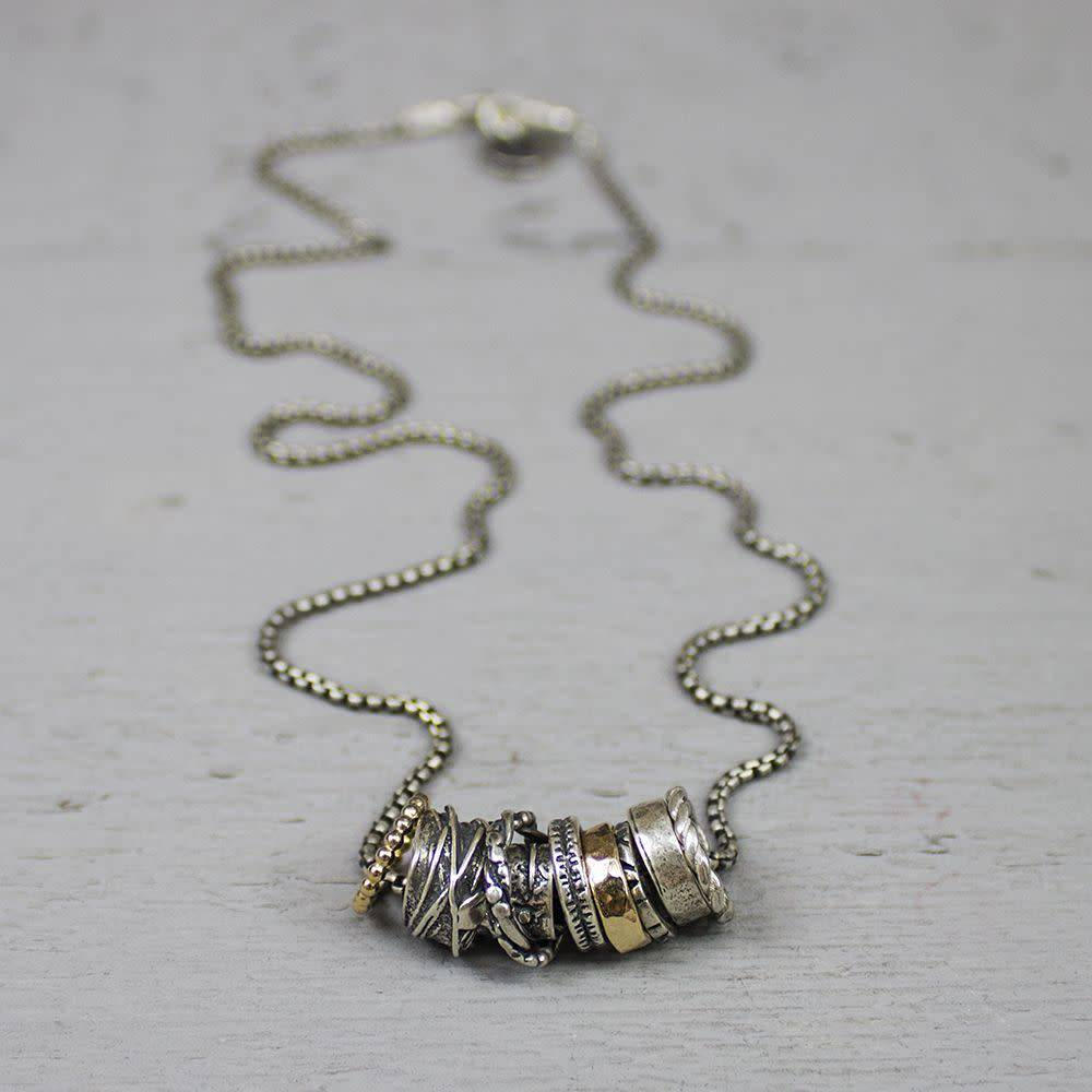 Jéh Collection Collier oxy silver and gold filled with loose rings-3