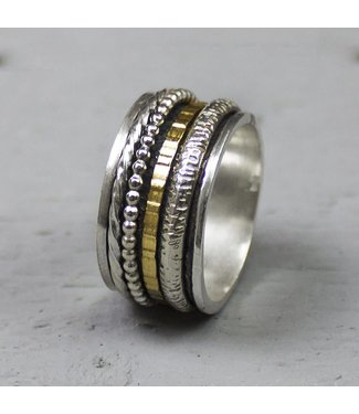 Jéh Collection - Ring zilver + Gold FIlled Creatief