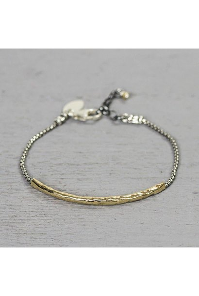 Bracelet silver with long gold filled tube