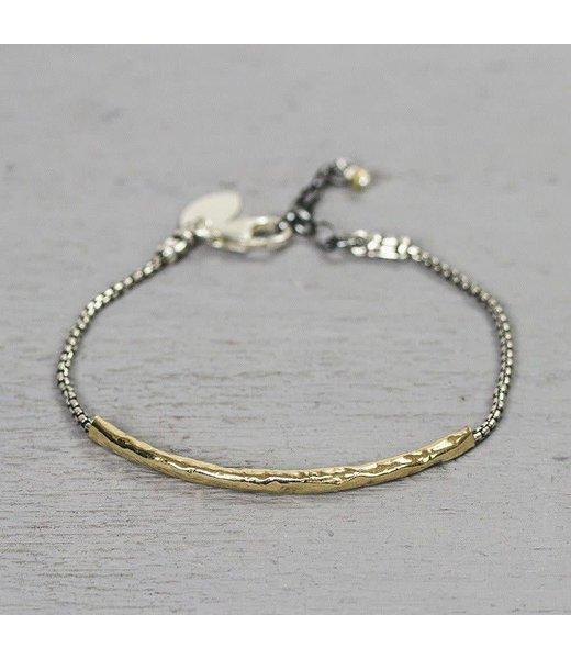 Jeh Jewels Armband zilver met lange goldfilled buis