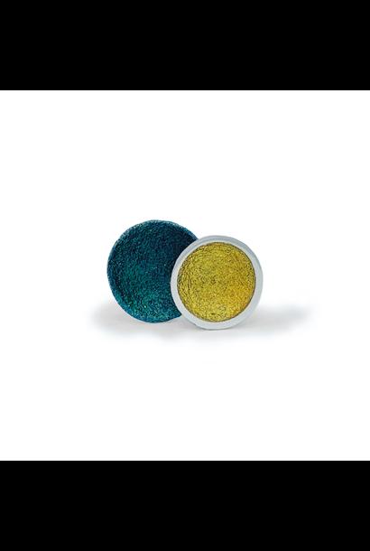 Singular large earrings green