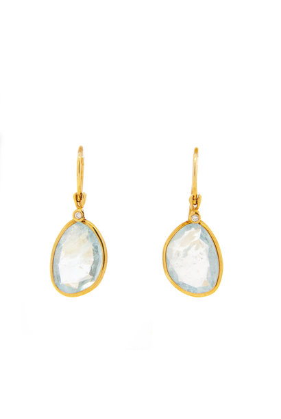 Earring + G14K + Aquamarine 0.02ct H / SI
