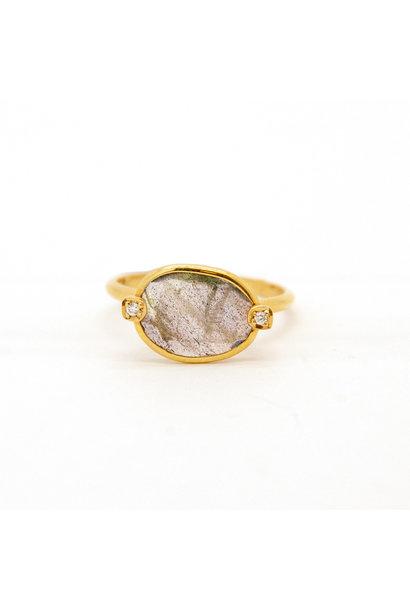 Jéh Ring G14K + Labradoriet Size 17