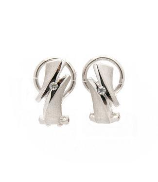 Breuning Zilv. Earring rhod. zircon.