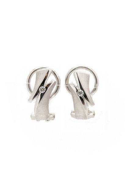Zilv. Earring rhod. zircon.