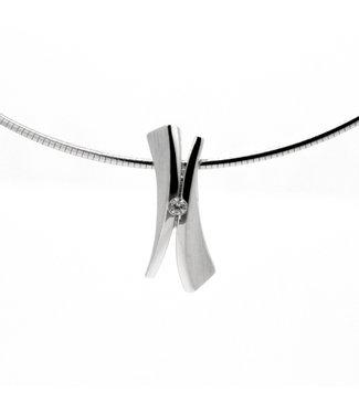 Breuning Zilveren Hanger Gerhodineerd Zirkonia