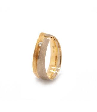 Vincent van Hees 14Krt Geel/Wit gouden ring maat 56