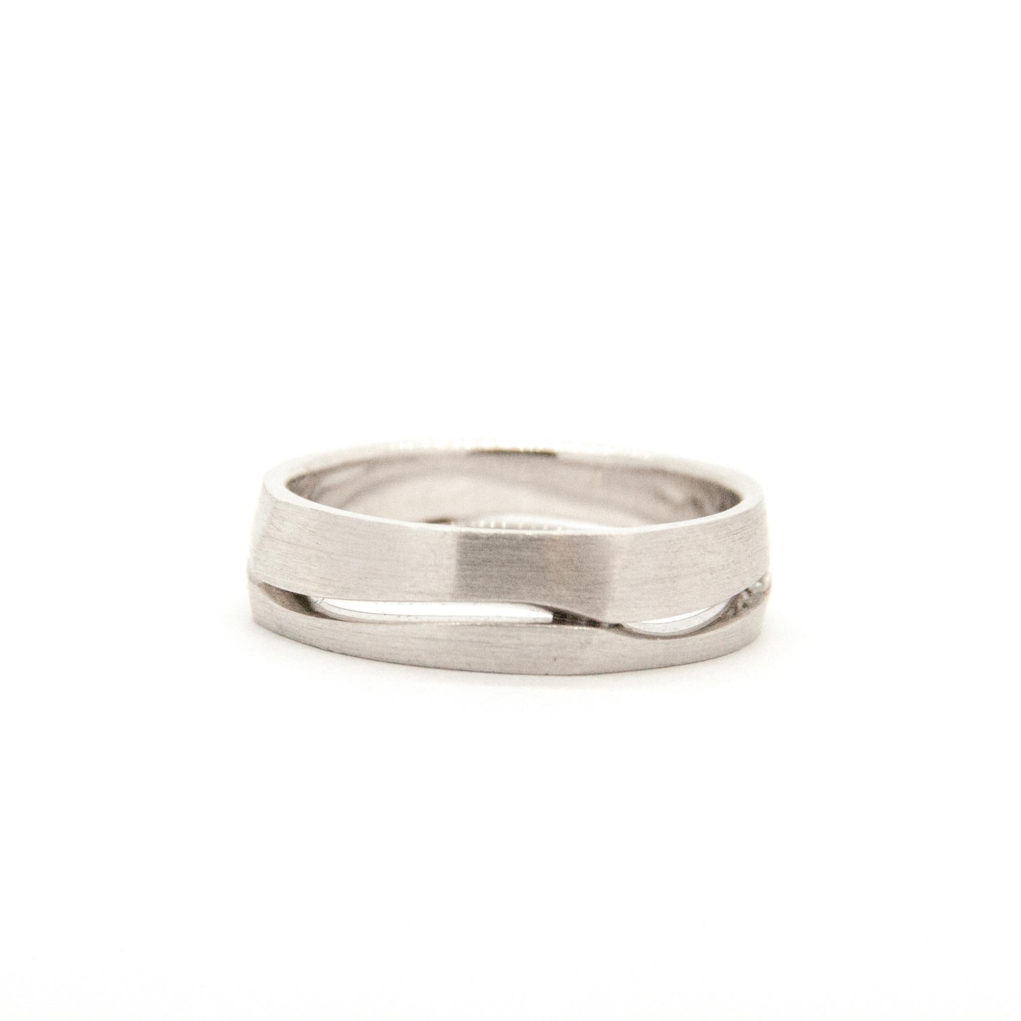 14k White Gold Wedding Ring-4