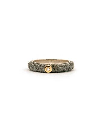 Arior Barcelona Wedding ring Anell desert mitjá canya met 1 briljant 0,02CT