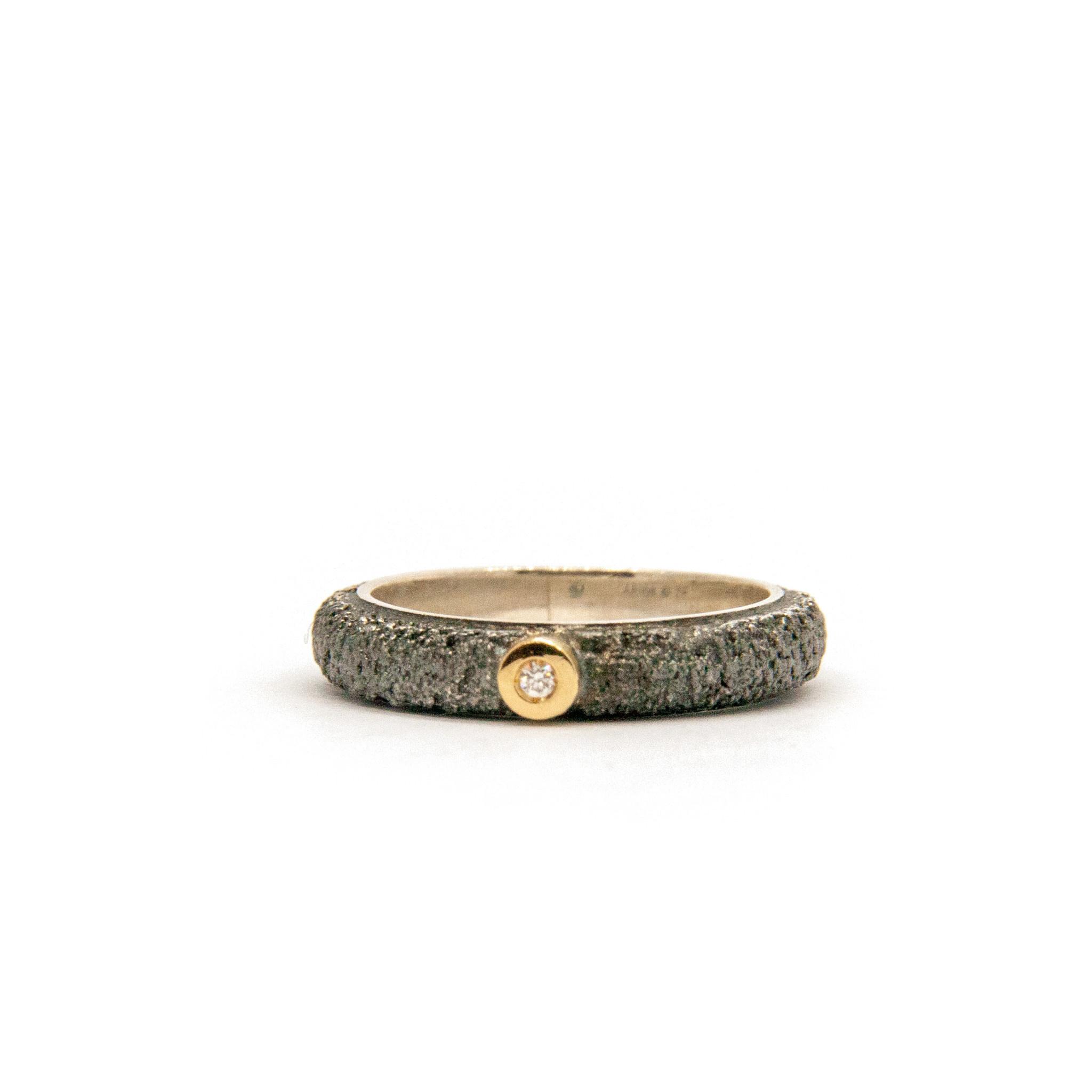 Wedding ring Anell desert mitjá canya met 1 briljant 0,02CT-1