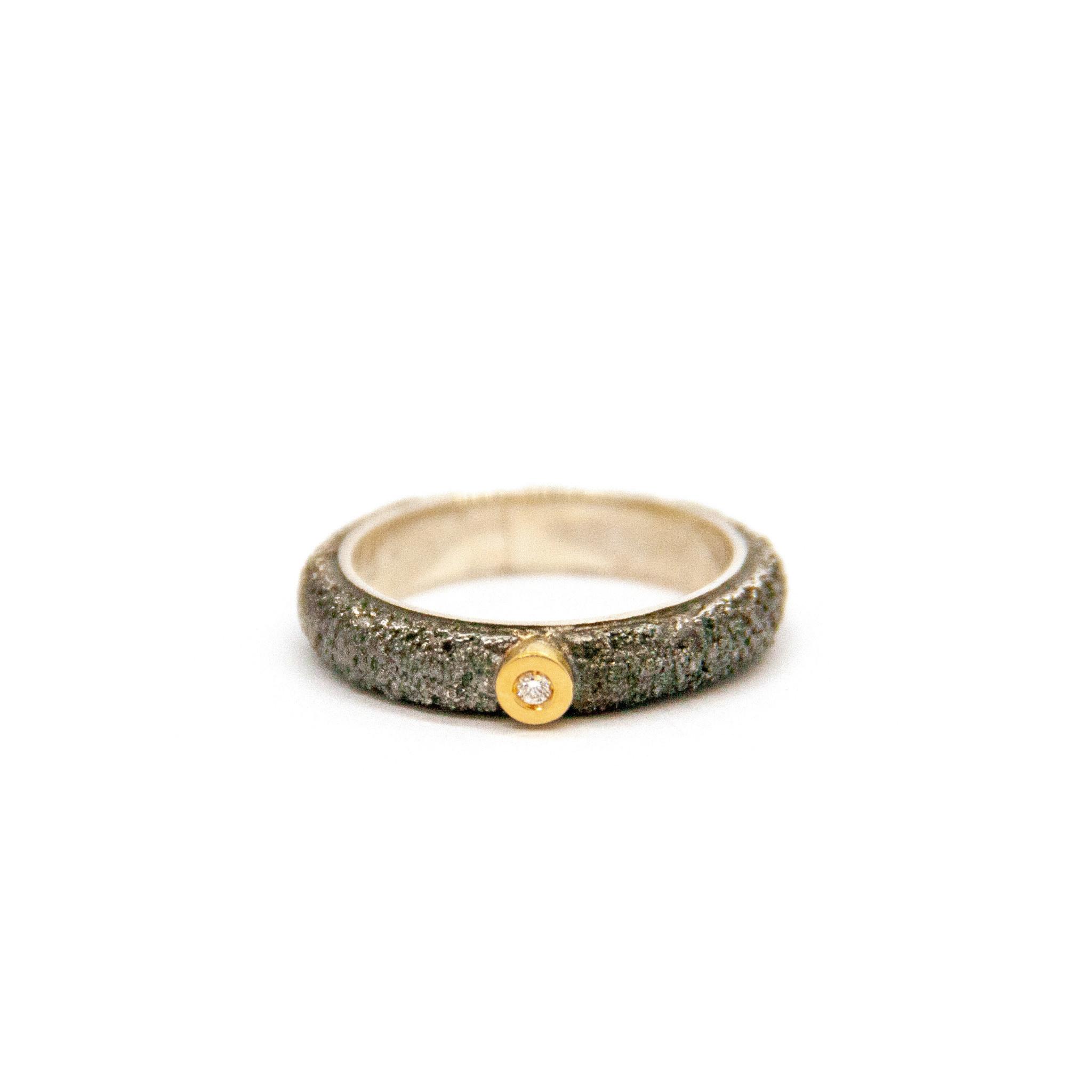 Wedding ring Anell desert mitjá canya met 1 briljant 0,02CT-2