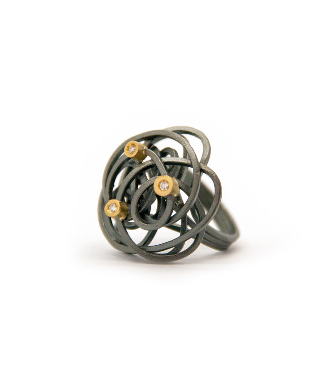 Caos silver & gold 3 brilliants ring
