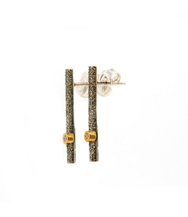Arior Barcelona Caos silver & gold small Oorbellen