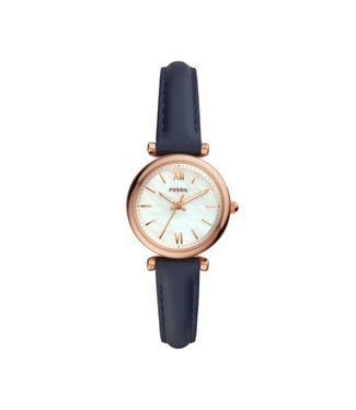 Fossil Carlie Mini Three-Hand Navy Leather Watch ES4502