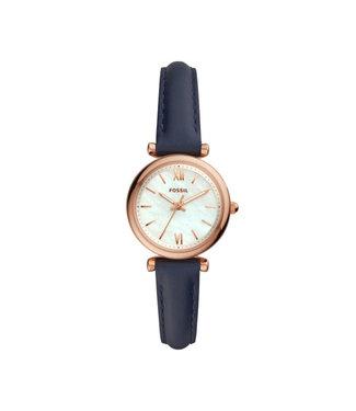 Fossil Carlie Mini Three-Hand Navy Leather Watch ES4502