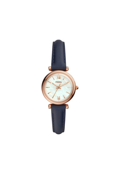 Carlie Mini Three-Hand Navy Leather Watch ES4502