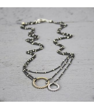 Jeh Jewels 19815 - Collier cirkels zilver oxy + goldfilled