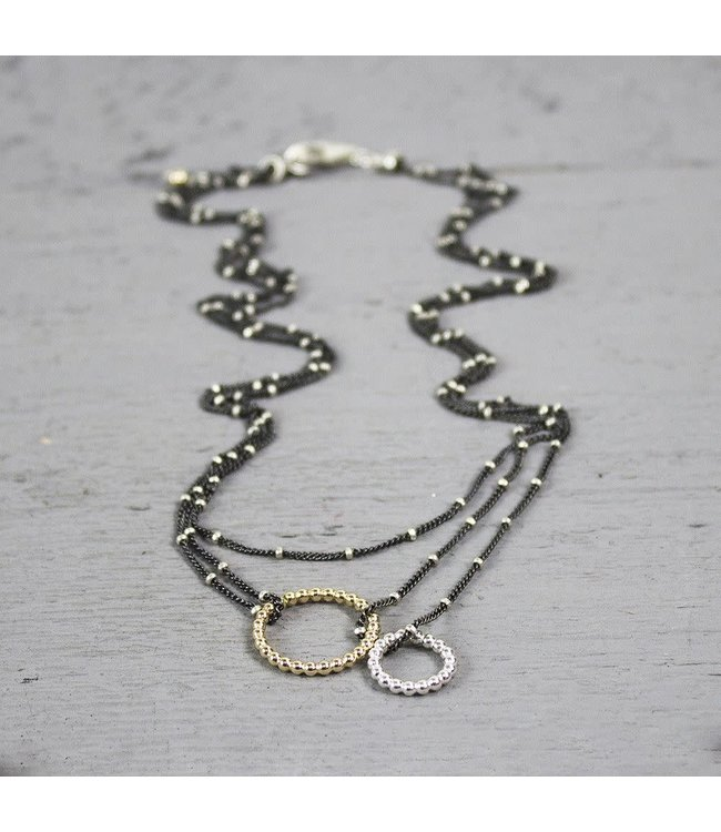 19815 - Collier cirkels zilver oxy + goldfilled