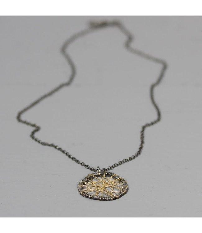 20138 - Collier zilver met web van Goldfilled