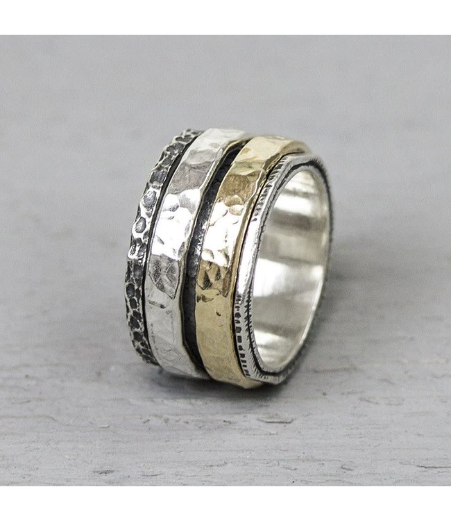 Ring zilver + Goldfilled 19969