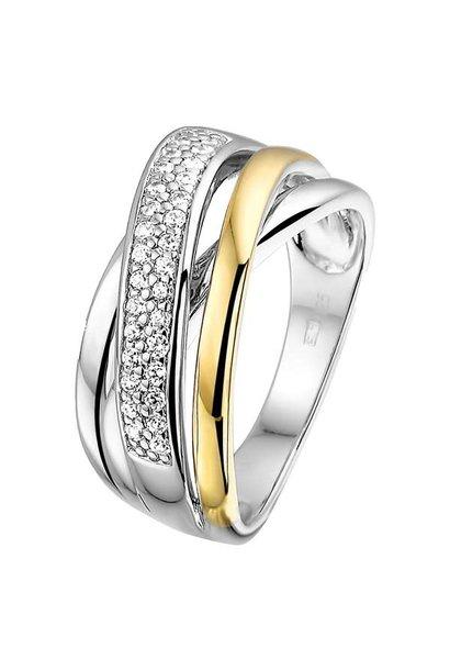 Ring Silver / Gold zirconia RF625170