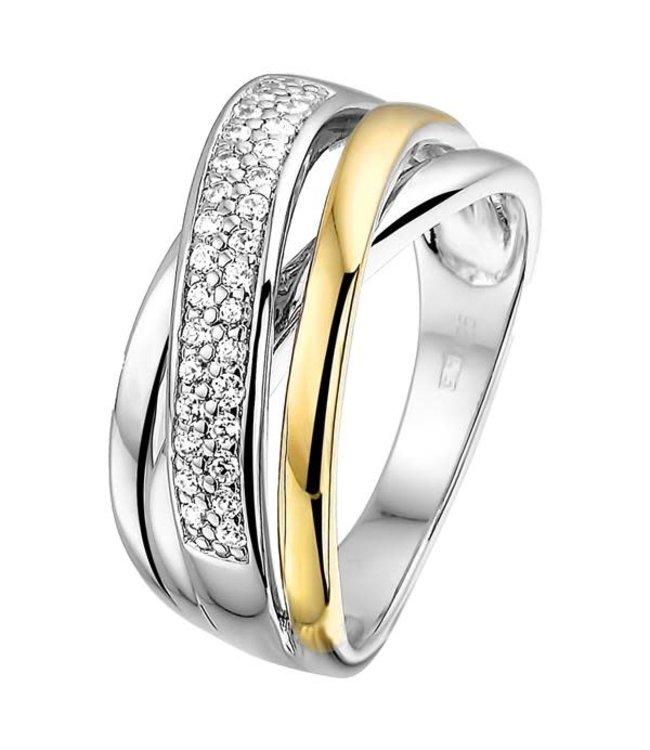 Excellent Jewelry Ring zilver/goud zirkonia RF625170