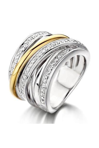 Ring Silver / Gold zirconia RF625967