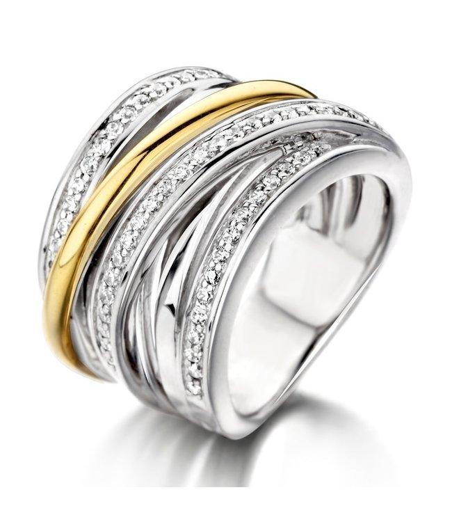 Excellent Jewelry Ring zilver/goud zirkonia RF625967