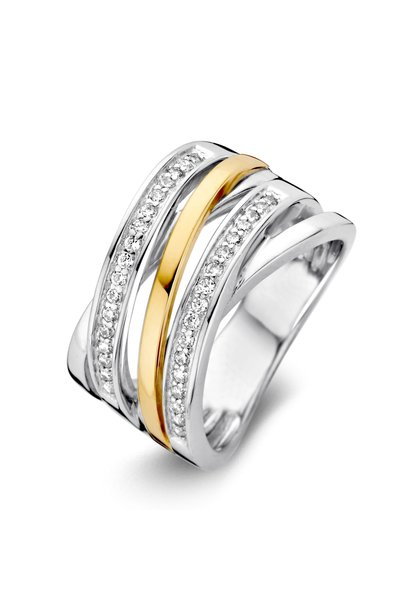 Ring Silver / Gold zirconia RF625214
